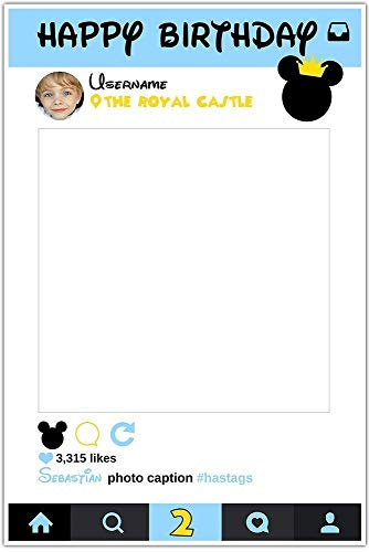 Royal Mickey Mouse Selfie Frame Social Media Frame Photo Booth Prop Poster