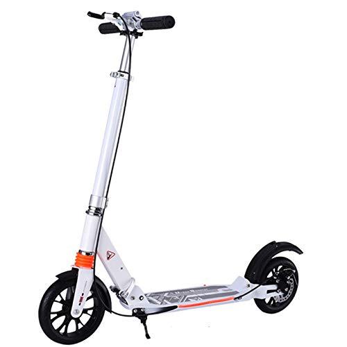 Scooter Adulto - con Sistema De Doble Amortiguación, Frenos De Disco, Altura Ajustable 3, Soporte De 300 lbs, Adecuado para Adolescentes Y Niños Mayores De 8 Años.(No eléctrico),White