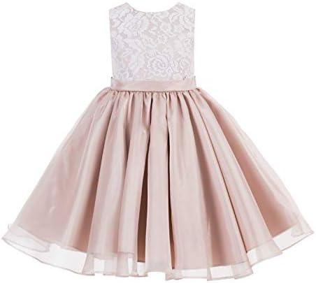 Lace Organza Flower Girl Dress Junior Bridal Dress Graduation Dress 186 8 Blush Pink product image