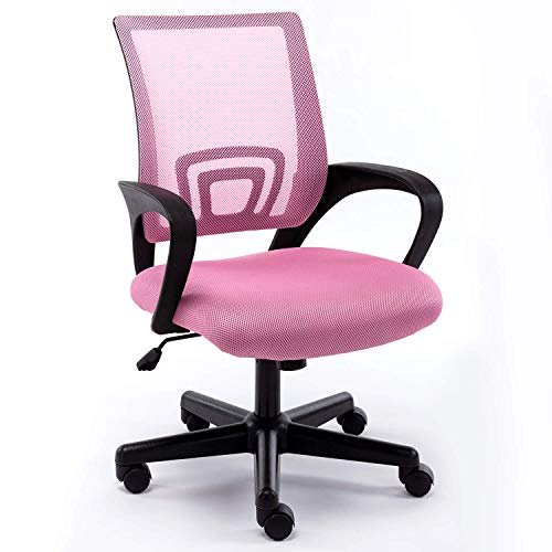 Office Mid-Back Chair Home Office Desk Chair Mesh Ergonomic Computer Chair with Streamlined Armrests Rectangular Lumbar Support and Adjustable Height Swivel Chair for Adults(Pink)
