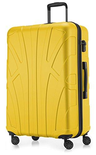Suitline großer Hartschalen-Koffer Koffer Trolley Rollkoffer XL Reisekoffer, TSA, 76 cm, ca. 96-110 Liter, 100% ABS Matt, Gelb