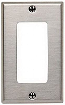 Leviton 84401-40 1-Gang Decora/GFCI Wallplate, Stainless Steel (6 Pack)