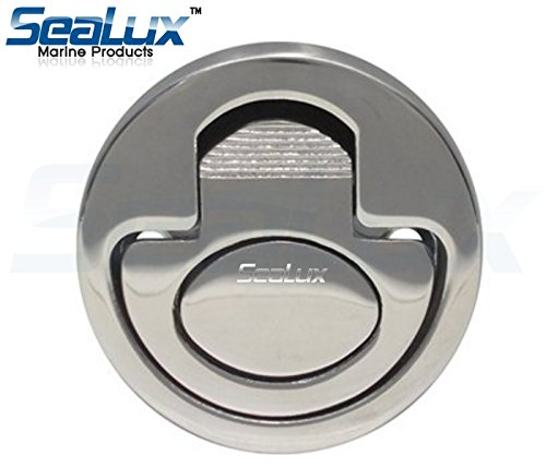 "SeaLux Marine Hatch 316 Stainless Steel Round Spring Loaded Flush Latch Lift Handle Latch/Pull Ring 2"" Dia."