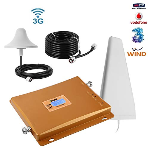 Yuanj Amplificadores de Señal 3G WCDMA 2100MHz Repetidor de Señal del teléfono Móvil Amplificador de Señal gsm + Antena con Cable de 10m (Dorado) (Dorado)