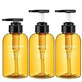 Segbeauty 3 Pezzi Bottiglie Dosatori per Sapone Liquido, 300ml Bottiglie di Pompa Ricaricabile per Shampoo balsamo Corpo Doccia Gel Dispenser per Bagno in plastica dell'hotel - Marrone