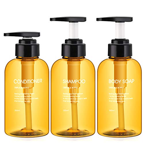 3 Botellas de Dispensadores de loción y de jabón, Segbeauty 300ml botellas de bomba recargables para champú acondicionador Gel de ducha corporal Baño de hotel Dispensador de prensa de plástico -Marrón
