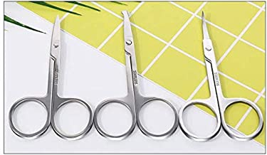 Nose Hair Scissors 3 Pcs Curved and Rounded Eyebrows Facial Hair Scissors for Men Moustache Scissor