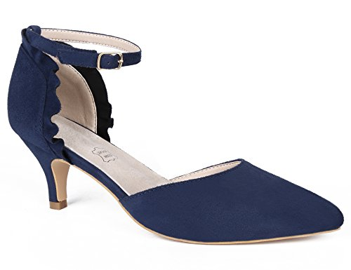 MaxMuxun Damen Sandalen Kitten Heel Pointed Toe Schnalle Office Freizeit Pumps Blau Größe 40EU