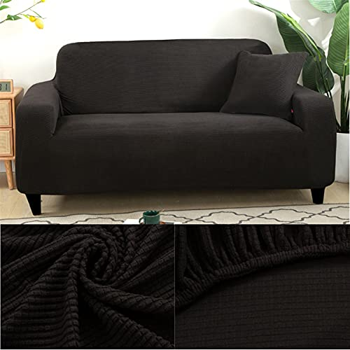 LIWENFU Sofa-Cover Dicke Sofa-Protektor Jacquard Solid Bedruckt Sofa-Cover für Wohnzimmer Couch Cover Corner Sofa Slipcover L Form (Color : Black, Specification : 2 Seater(135 170cm))