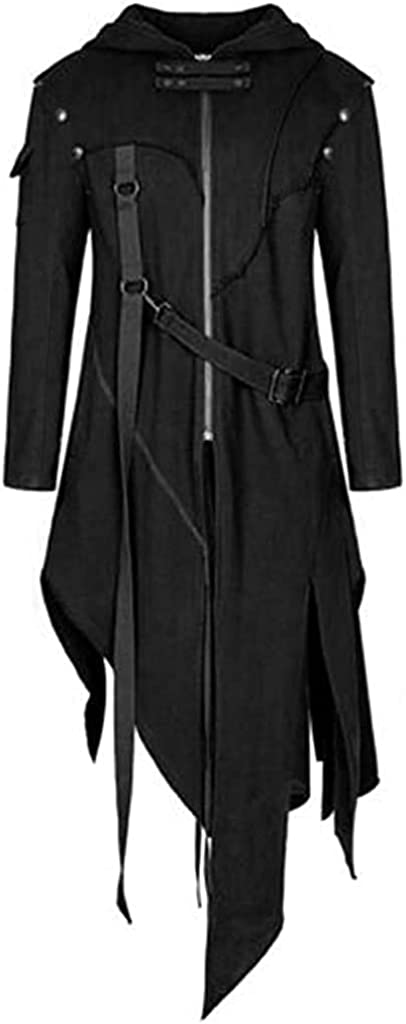 Men's Vintage Zipper Up Asymmetrical Hoodie Jacket, Irregular LonglineRetro Punk Style Party Outwear Coat (Black,Large)
