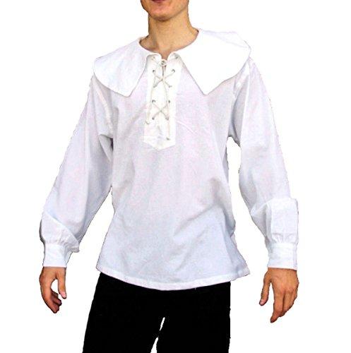 Dark Dreams Gothic Mittelalter LARP Landsknecht Musketier Hemd Gerard, Farbe:Weiss, Größe:L