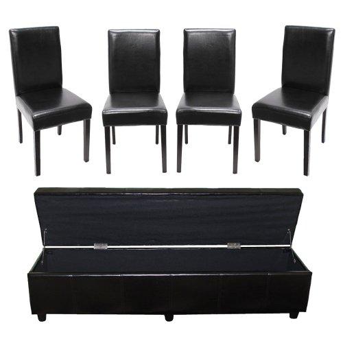 Mendler Garnitur Sitzgruppe Bank mit Aufbewahrung Kriens XXL+4 Stühle Littau, Kunstleder/Leder ~ schwarz