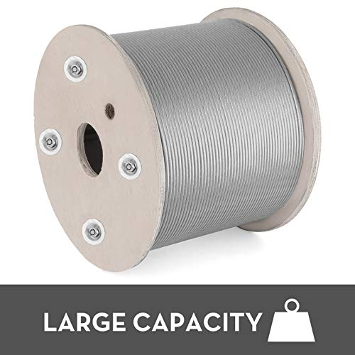 Mophorn 304 Stainless Steel Cable 1/8 Inch 7 X 19 Steel Wire Rope 2000Feet Steel Cable for Railing Decking DIY Balustrade(0.125 Inch-2000Feet)