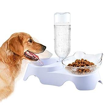 Furpaw Gamelles pour Chat, Chats Bol de Nourriture avec Support Surélevé, 2 en 1 Distributeur Automatique d'alimentation Lente pour Chaton Puppy