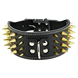 Collare Borchie Cane Collare regolabile con borchie a spillo regolabile in pelle 4 file Collari per cani con collare a collare pet Pitbull Bulldog (Black L)