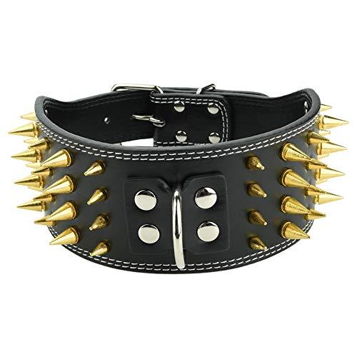 Collar de Perro con Pinchos Ajustable de Cuero de PU 4 Filas Tachonadas Collares para Mascotas Perro Pitbull Collar de Cuello(Negro L)