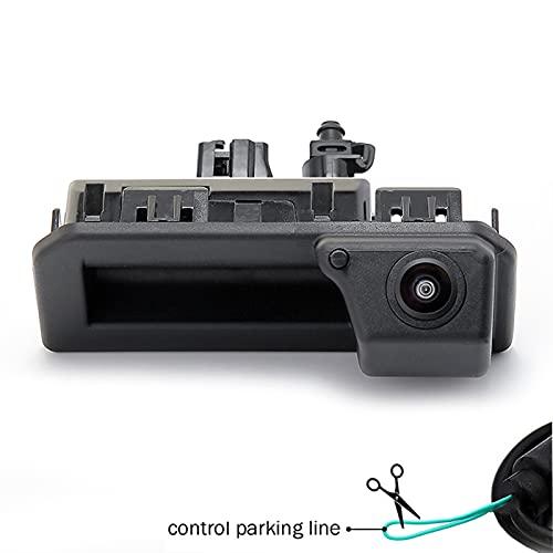Hyzb Vehículo HD Fisheye Lens Coche Tronco Mano Vista Trasera Cámara para Audi Q2 Q3 Q5 A5 A6 VW Passat Bora para Skoda Karoq Kodiaq 2017 2018 2019