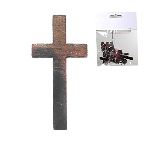 Streudeko Croix Argent, Bois, env. 6 x 3 cm, 12 St.