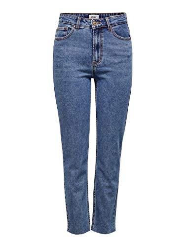 ONLY Damen Straight Jeans onlEMILY HW ST RAW JNS DB MAE 0005 NOOS, Blau (Dark Blue Denim), W29/L32 (Herstellergröße: 29)