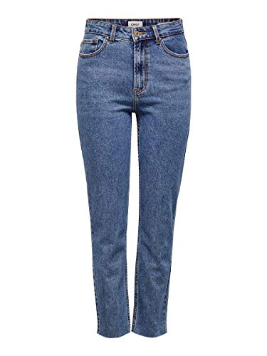 ONLY Damen Straight Jeans onlEMILY HW ST RAW JNS DB MAE 0005 NOOS, Blau (Dark Blue Denim), W28/L30 (Herstellergröße: 28)