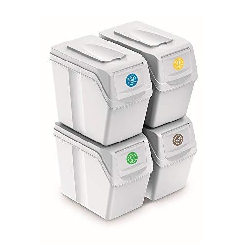 Prosperplast Juego de 4 Cubos de Reciclaje 80L Sortibox de plastico en Color Blanco, 4x20L