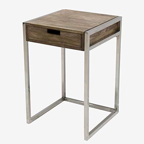 Better & Best 3105013 nachtkastje met 1 lade van natuurlijk hout en zilverkleurige poten van hout en metaal