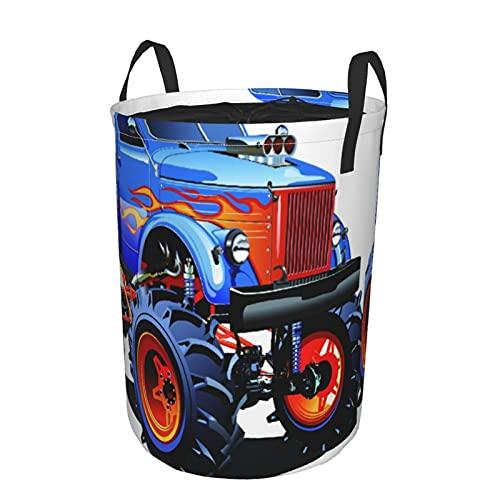 Cesto de ropa sucia plegable impermeable redondo,camión monstruo de dibujos animados,neumáticos enormes,todoterreno,pesadas,grandes,ruedas de tractor Turbo,21.6'X16.5'