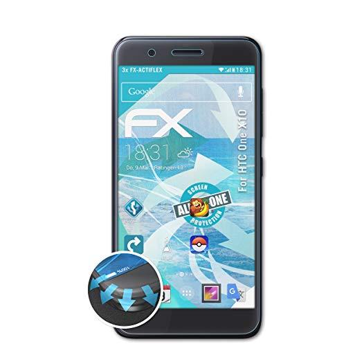 atFolix Schutzfolie kompatibel mit HTC One X10 Folie, ultraklare & Flexible FX Bildschirmschutzfolie (3X)