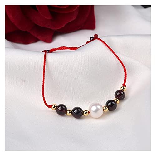 WJCRYPD Pulseras para Mujer Granate Natural y Perlas de Agua Dulce Pulsera Real 18k Bola de Oro Tejida Ajustable para Mujeres Qf Shop