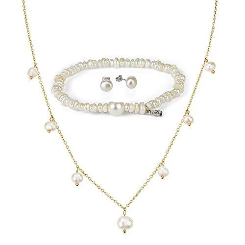 Conjunto de Pulsera, Collar y Pendiente de Perlas - Juego de Joyas