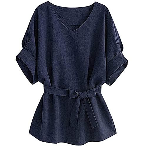 Blusa Mujer Elegante Manga Corta Cuello V Color Sólido Camisa Mujer Moda Verano Exquisitos Tops Mujer Trabajo Informal Viajes Mujer Tops D-Blue 5XL