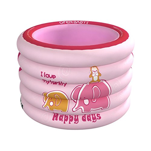 Baignoire pliante gonflable de bain de jeu de l'enfant jouant au billard, SPA plus épais portatif de bébé de maison d'isolation (Couleur : Pink)