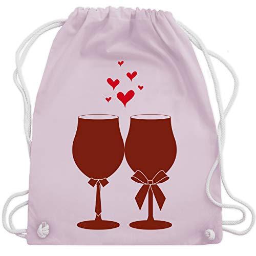 Shirtracer Symbole - Weingläser Wein - Unisize - Pastell Rosa - weinglas blau - WM110 - Turnbeutel und Stoffbeutel aus Baumwolle