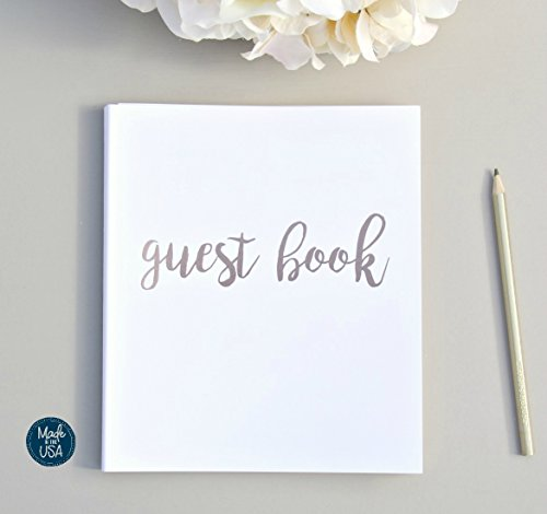 Modern Photo Guest Book, Softcover Flat-Lay Cardstock, Small 8.5'x7', 65 White Sheets (130 pgs) Birthday Guest Book Wedding Guest Book Photo Guest Book Instax Guest Book Quinceanera Rose Gold White