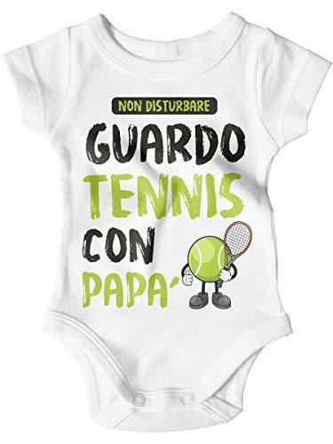 STAMPATEK Body Neonato Festa del papà Bodino Guardo Tennis con papà Tutina Bimbo Manica Corta Idea Regalo Nascita