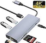 7-in-1 USB C Hub, USB C Adapter mit Ladeanschluss Typ C, HDMI-Anschluss, SD/TF-Kartenleser, für Typ...