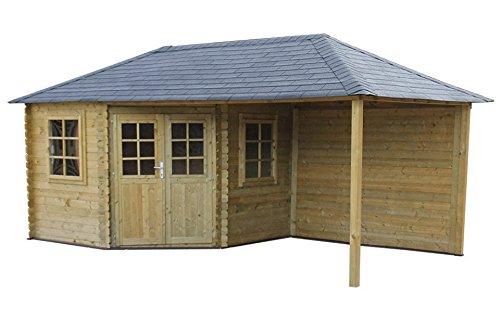 Fonteyn Gartenhaus/Blockhütte Eline Pyramidendach 760 x 380 cm Hochdruck-Imprägniert