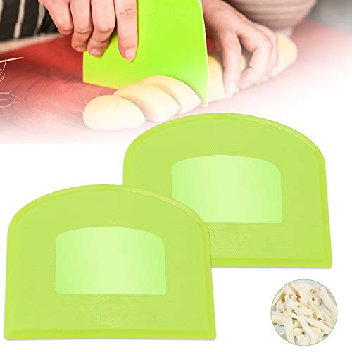 RMENOOR Teigschaberkarte 2 Stück Teigschaber Multifunktional Teigkarte Profi Teigspatel Teigspachtel Kunststoff Flexibles Teigkratzer Schüsselschaber für Brot Sahne Butter Nudeln Creme Teig (Grün)