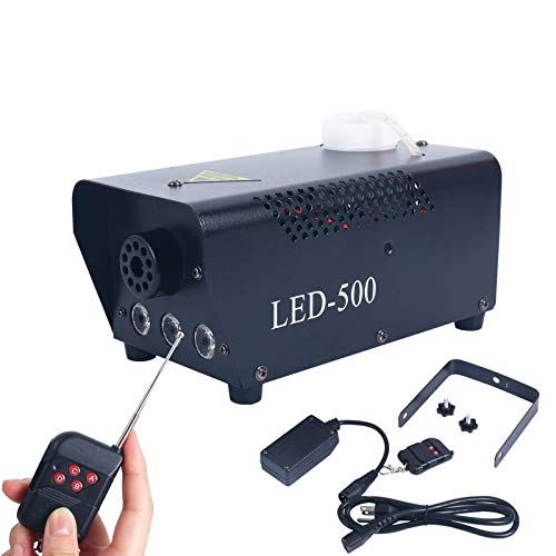 YaeCCC Fog Machine, 500W Fog Machine with Built-In Colored LED Lights, Wireless Remote Control for Halloween, Parties…