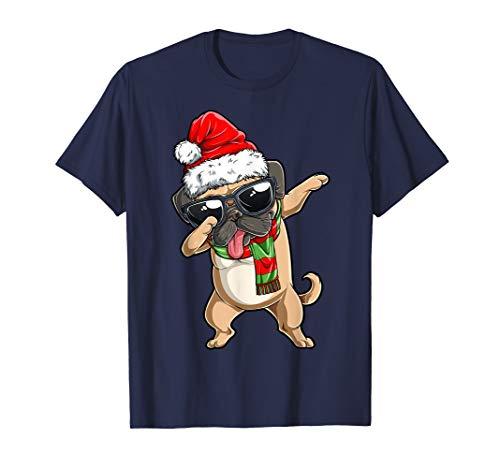 Dabbing Mops Weihnachtsmann T shirt Weihnachten Christmas