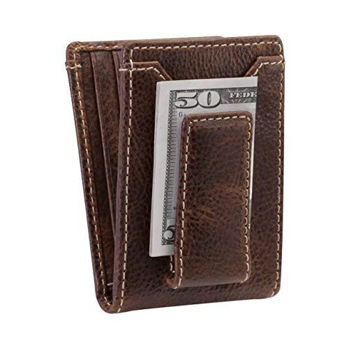 HOJ Co. IVAR ID BIFOLD Money Clip Wallet | Strong Magnetic Closure | Full Grain Leather | Men's Bifold Wallet With Money Clip (Brown)