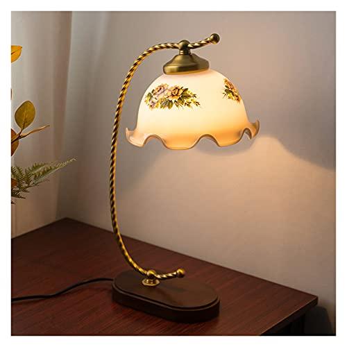 Lampara Mesilla Lámpara de mesa retro dormitorio de noche lámpara de cama simple estudio creativo sala de estar decoración cálida decoración antigua vidrio mesa lámpara Lámpara Mesa ( Color : A )