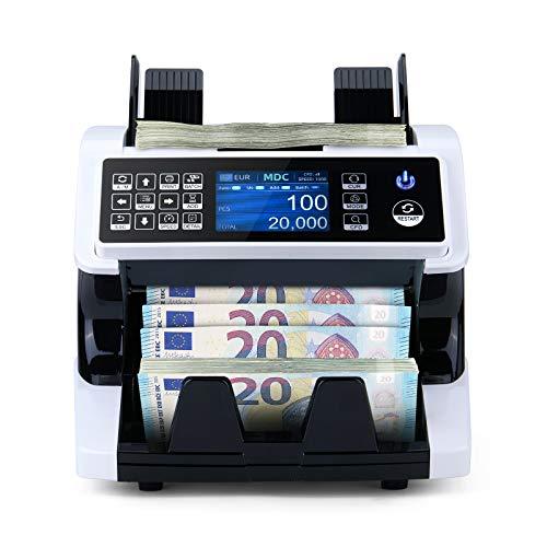 MUNBYN Compteur de billets à grande vitesse Compteuse de billets pour les billets triés avec détection des faux billets sur 7 points