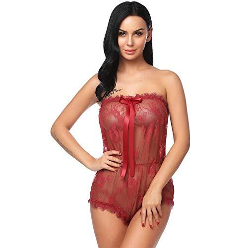 Encaje Babydoll Lencería Picardias Mujer Sexy Disfraz Cosplay Lencería Sexy Hot Erotic Underwear Women Sheer Lace Romper Nightwear Porn Sex Costume-Red_XXL