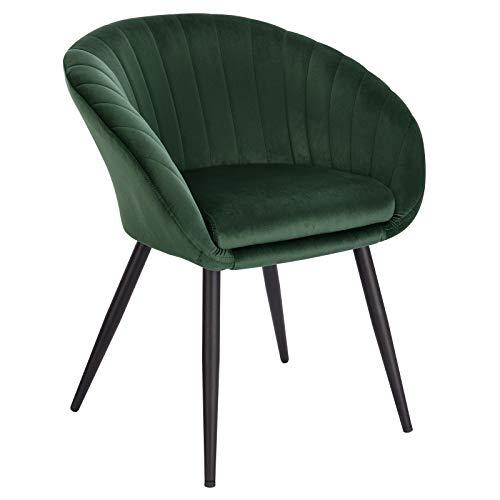 WOLTU Esszimmerstühle BH244dgn-1 1 Stück Wohnzimmerstuhl Küchenstuhl Polsterstuhl Sessel mit Armlehne, mit Rückenlehne, Sitzfläche aus Samt, Beine aus Metall, Dunkelgrün