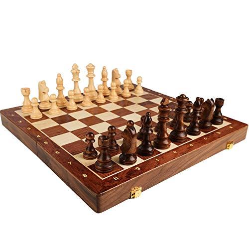 Flystoo Juego de ajedrez Conjunto de ajedrez Plegable de Madera Set de ajedrez Grande Juego de tableros de Viaje de Madera Maciza para Adultos Conjunto de ajedrez Plegable al Aire Libre
