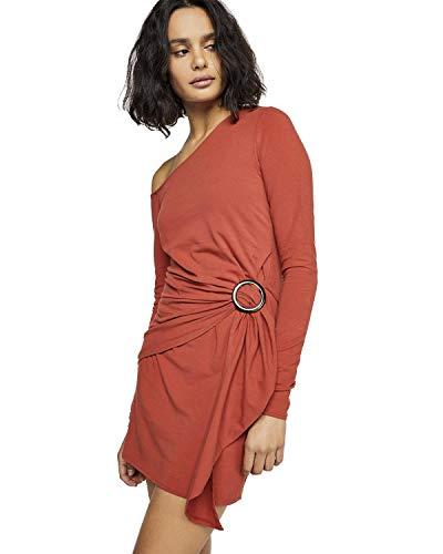 Free People Womens Frankie Gathered Long Sleeve Bodycon Dress Orange L