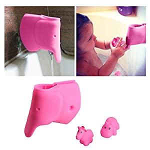 Bath Spout Cover - Faucet Cover Baby - Tub Spout Cover Bathtub Faucet Cover for Kids -Tub Faucet Protector for Baby - Silicone Spout Cover Pink Elephant - Kids Bathroom Accessories - Free Bathtub Toys