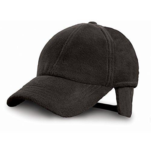 Gorra polar con orejeras POLARTHERM™ - Ideal para Invierno, Montaña, Nieve, Trabajo, Industria, Pescar, Deportes - Hombre/Mujer (Unisex) (Negro)