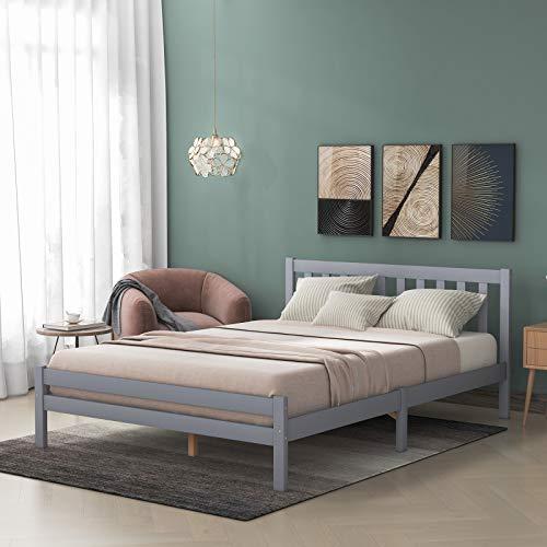 æ— Marco de cama de matrimonio de madera maciza para adultos, niños, adolescentes, con cabecero y pie de cama, ahorra espacio y no necesita sombrilla, gris (cama doble)